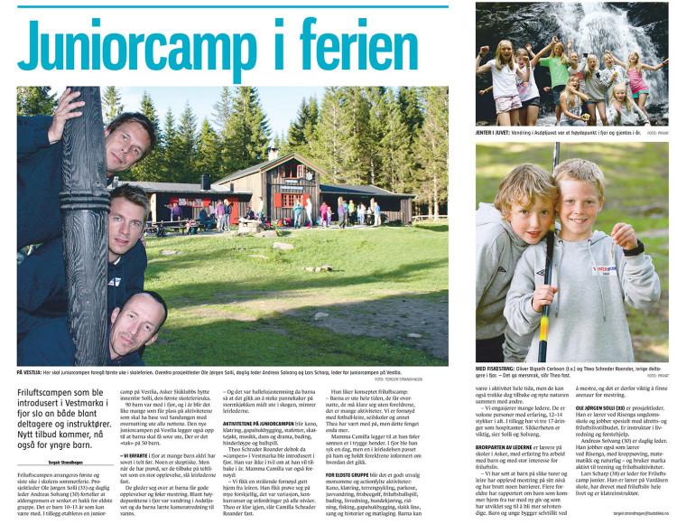 Om Friluftscamp junior i Budstikka. Avisutklipp.